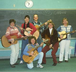 Co-teachers Ron Pulcer and Linda MacFarlane with students (K-6 teachers) from our first Guitars In The Classroom course.